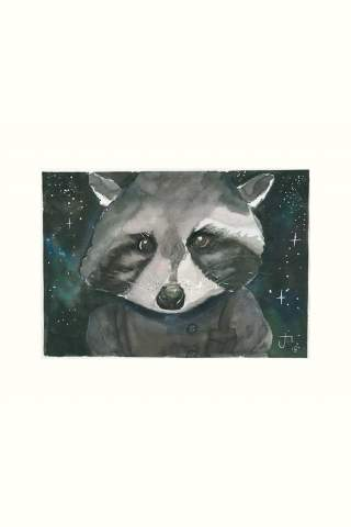 """Space Racoon"" 8 x 10"" Giclee print by Jason Petkau"