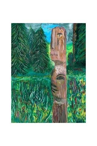 """Totem Pole"" 9 x 12"" Giclee print by Miles Parenteau"