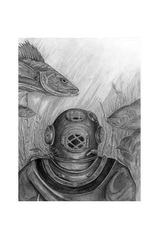 """Deep Diver"" 9 x 12"" Giclee print by Kaylene Striker"