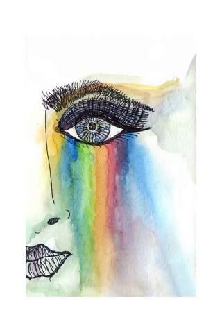 """Rainbow Face"" 8 x 10"" Giclee print  by Jen Shaw"